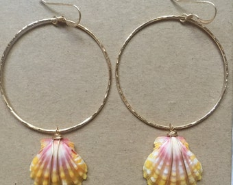 Pink and Orange Sunrise Shell Hoops (Gold)
