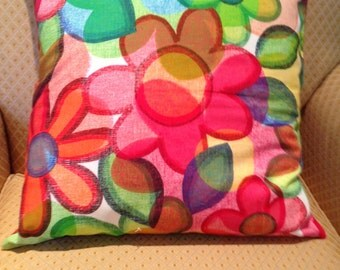 Bright Colored Chic Flower Design Pillow Cover