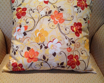 Yellow, Red, Orange, White Fall Flowers Pillow Cover