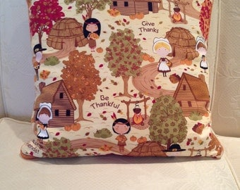 First Thanksgiving Scene Pillow Cover