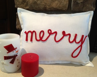 White Linen Pillow Cover with Red Merry Lettering
