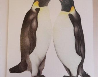 Christmas Greetings Card Emperor Penguins