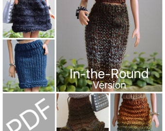 """Easy Barbie Knitting Patterns for Essential Skirts 5 pack, Comes with instructions to Knit """"In-the-Round"""" a Variety of Barbie Garments"""