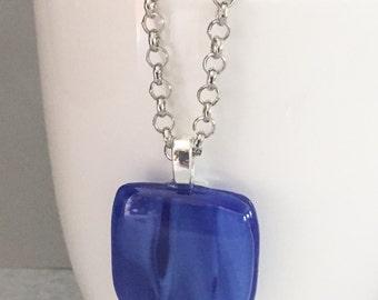 Blue fused glass pendant, blue glass pendant, blue necklace, blue pendant, fused glass pendant, glass pendant, square pendant