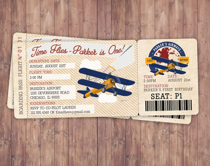 Time Flies, Vintage Airplane Boarding Pass Birthday Invitation- Vintage, Airplane / Birthday Party, first birthday, ticket invitation, 1st
