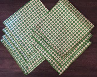 Set of Eight Vintage Green & White Napkins Gingham