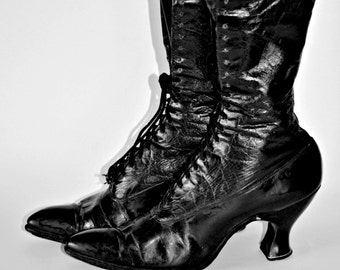 Antique Victorian Sorosis black leather boots by A.E Little Shoe Company, Massachusetts, 1890's / Vintage shoes, Edwardian boots
