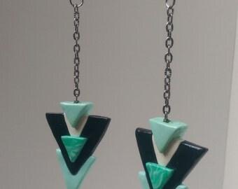 Tri-Tribal Seafoam Green Polymer Clay Earrings
