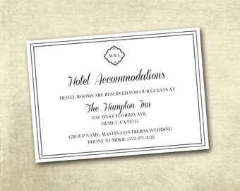 Wedding Hotel Accommodations Enclosure Cards PDF Instant Download - Elegant Traditional Black White Monogram Hotel (Choose Your Text Color!)
