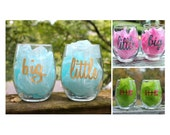 Big Little Sorority Stemless Wine Glass, Sorority Rush Gift