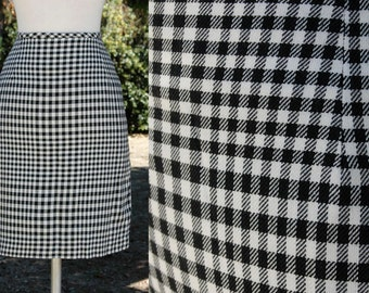 Saks Fifth Avenue Black and White Checkered Skirt