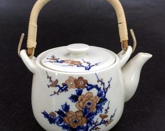 Vintage Japanese Ceramic Small Tea Pot Hand Painted Floral Pattern Japan Teapot