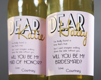Bridesmaids Ask Gift Best Wine Label Proposal Blush / Custom Label Ask Bridesmaid Gift Wine Label Sticker / Wine Labels Ask Bridesmaid Cards