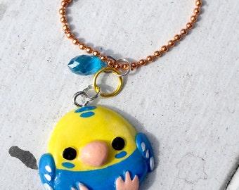 SALE OOAK Cute Blue Yellow Budgerigar Resin Charm,Kotori Tai inspired, Blue Yellow Budgie Resin Charm, Blue Yellow Parakeet Resin Charm