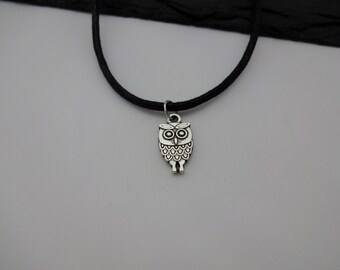 Owl Choker Necklace, Owl Choker, Charm Necklace, Black Cord Necklace, Owl Necklace, Charm Choker, Owl Gift, Gift For Her