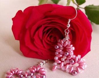 Hand Beaded Pink Pearl Heart Earrings