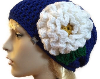 Blue slightly slouchy beanie with big beautiful white flower