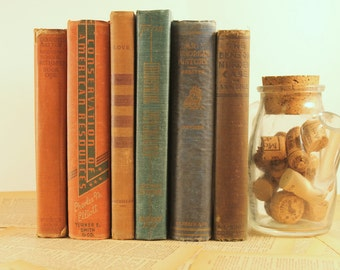Vintage Book Set - Dark Books - Old Textbooks - Antique Book Set - Book Decor - Centerpiece - Bookshelf - Instant Library - Book Stack