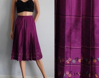 Purple pleated skirt, knee length, silky polyester, Italian vintage 80s retro, high waisted, large, waist 30