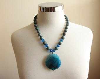 Blue Druzy Necklace  - Blue Agate Pendant - Chunky Necklace - Statement Necklace