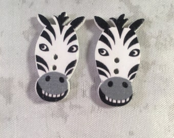 Zebra Buttons - Set of 2- Zebra Buttons - Wooden Buttons - DIY Crafts, Hairbows, Scrapbooking and More!