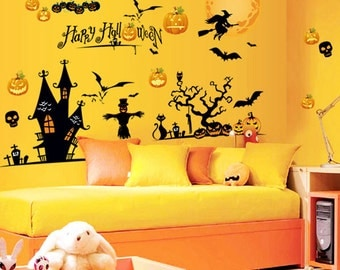 halloween wall decals halloween window decals ghost elves devil glass wall stickers decoration terrorist spider wizard