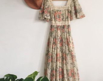 Vintage Cotton Gauze Floral Maxi Dress Act II