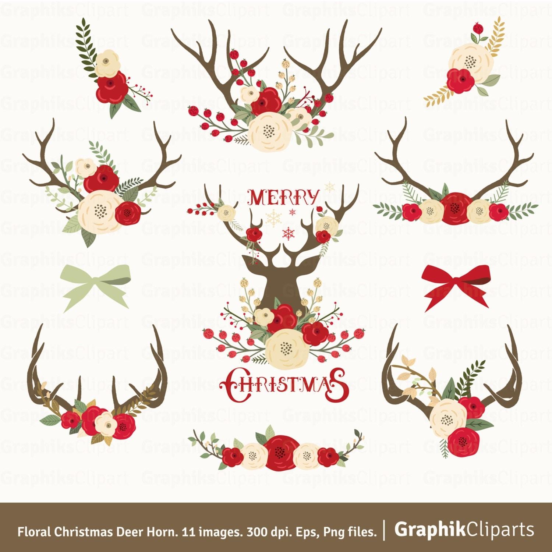 Floral Christmas Deer Horn Clip Art. CHRISTMAS CLIP