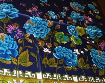 Blue Floral Border Print Vintage Novelty Fabric for Skirts and Dresses