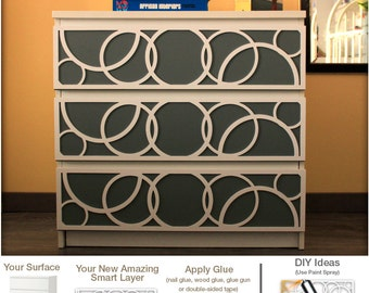 Diy Overlays Furniture Appliques Makeover Fretwork Glam Decor Malm