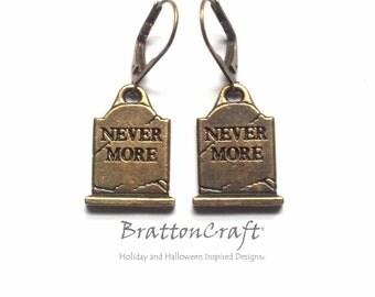 Gold Tombstone Earrings - Halloween Earrings - Nevermore Earrings -  Halloween Jewelry -  Edgar Allen Poe - The Raven - Epsteam
