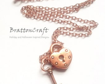 Copper Key and Heart Lock Necklace - Key and Heart Lock Charm Necklace - Valentine Necklace - Key and Lock Jewelry