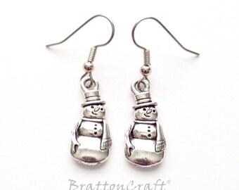 Silver Snowman Earrings - Silver Snowman Jewelry - Christmas Earrings - Christmas Jewelry - Holiday Jewelry - Holiday Earrings