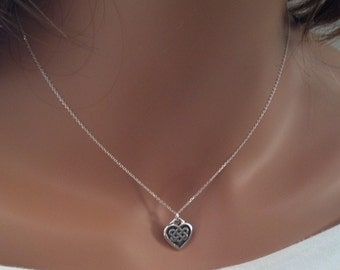 "1/2"" Silver Celtic Knot Heart Necklace - Celtic Heart Necklace - Silver Celtic Necklace - Valentine Necklace"