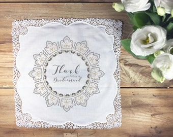 Thank you Bridesmaid handkerchief wedding gift, henna inspired wedding handkerchief, wedding handkerchief, thank you bridesmaid hankie gift