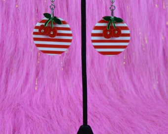 Cherry Stripes Earrings