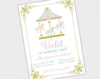 Carousel Birthday party Invite, Vintage Horse, Circus, Merry Go Round Invitation, 5 x 7 DIY Printable PDF or JPEG, Mint, Pink