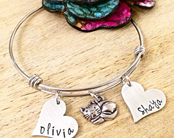 Cat Jewelry, Cat Lover Bracelet, Pet Jewelry, Personalized Pet Bangle, Hand Stamped Bangle Bracelet, Custom Cat Jewelry