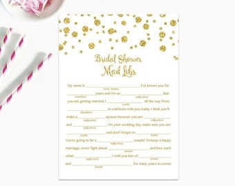 Bridal Shower Mad Libs Game, Gold Dots Bridal Shower Mad Libs, Bridal Shower Game, Gold Confetti Instant Download PDF Printable