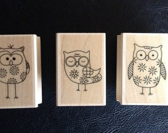 Owls Rubber Stamp, Rubber Stamp on Wooden Block, Scrapbooking, Card Making, Hero Arts