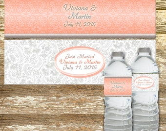 Water Bottle Labels - Wedding Water Bottle Labels, Coral and Gray Wedding, Personalized Water Bottle, Water Bottle Wraps