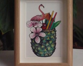 "Pineapple Art Print | Oak Frame | 5x7"""