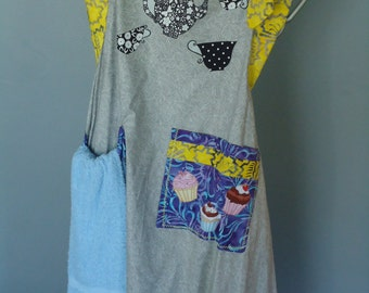 gray apron, tea pot and cups applique, handcrafted with towel