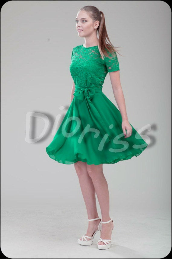 Green cocktail dress bridesmaid short dress lace wedding for Short green wedding dresses