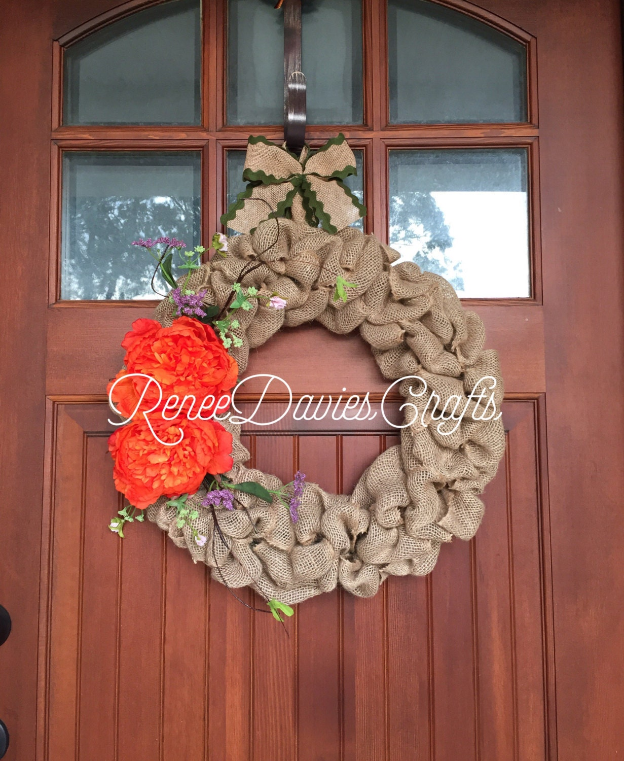 Burlap wreath spring wreath door decor door hanger for 3 wreath door decoration