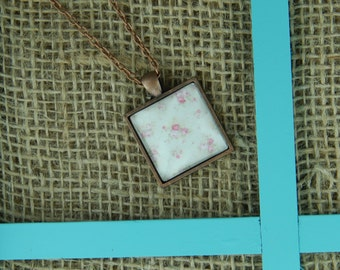 All dolled up square glass pendant antique copper necklace