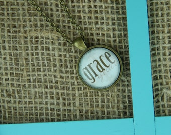 Grace round glass pendant antique bronze necklace