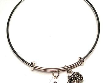 Hedgehog Bangle Bracelet, Adjustable Expandable Bangle Bracelet, Hedgehog Charm, Hedgehog Pendant, Hedgehog Jewelry,Woodland Bangle Bracelet