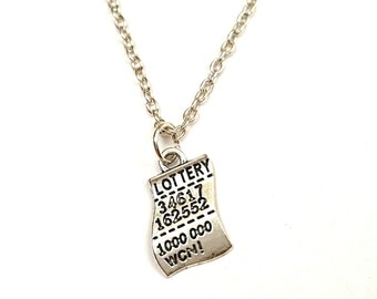 Lottery Necklace, Lottery Charm, Lottery Pendant, Lottery Jewelry, Lottery Ticket Necklace, Lottery Ticket Charm, Good Luck Necklace, Money