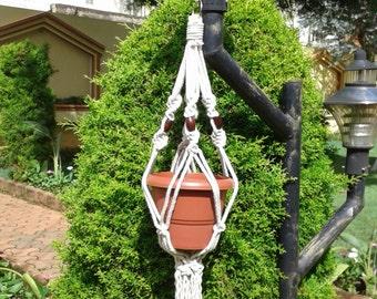 "29""Natural macrame plant hanger  / pot holder,hanging planter indoor/outdoor,bird feeder,small ,rope planter,kitchen planter,"